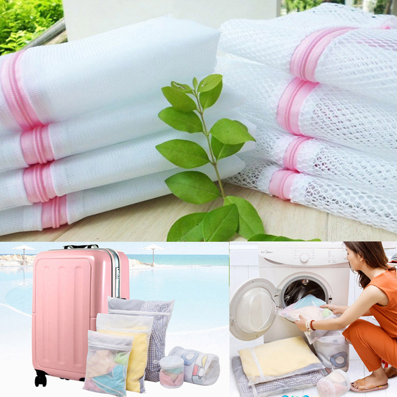 Fashion Zippered Foldable Laundry Bag Bra Socks Underwear Clothes Washing Machine Protection Net Mesh Bags
