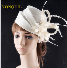 17Colors fascinating sinamay fascinator charming feather hats headpiece event headwear dance hat suit for all season