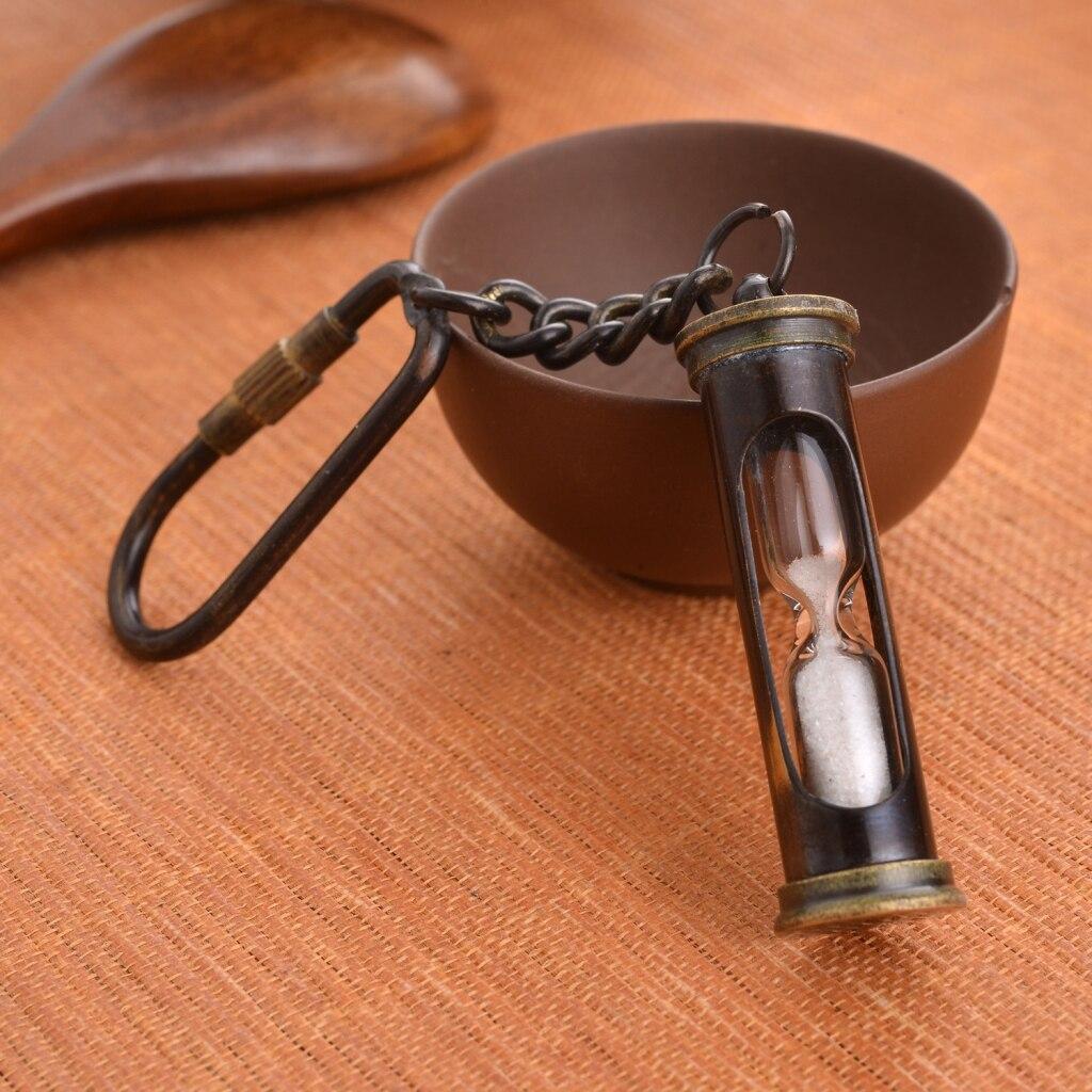 Femmes Hommes Cadeau Vintage Sablier Conception Steampunk Cuivre Keychain Porte-clés
