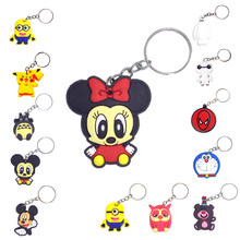 suti Anime Cartoon PVC Keychain cute bunny captain Marvel owl KT Key Cover For Women key chain keyring bag phone straps chain(China)