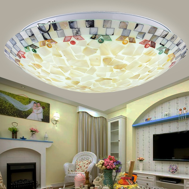 Mediterranean shell LED & E27 lamp ceiling lamp Home Bedroom Dining Room Lights Office & Commercial Ceiling Lights 110-240V mediterranean style tiffany shell ceiling lamp 20 25 30 35 40cm e27 ac 110 240v led ceiling lights luminarias light fixture