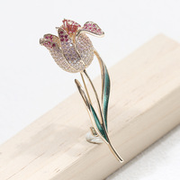Autumn and winter new drop oil two color single tulip bouquet pin simple elegant brooch brooch for wemon