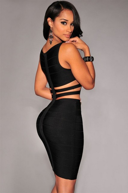 c307c838b3d 2016 newest top quality sexy women black celebrity bandage dress with two  straps on side   back hollow out dress dropshipping