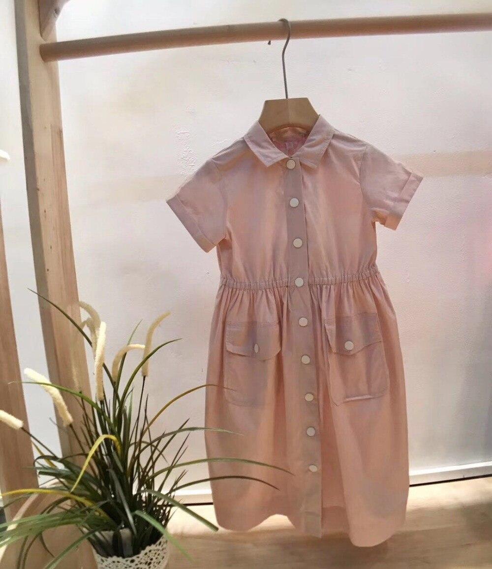 Eté filles rose solide avec bouton col rabattu robe pour filles robe formelle Boutique pour enfants filles vêtements