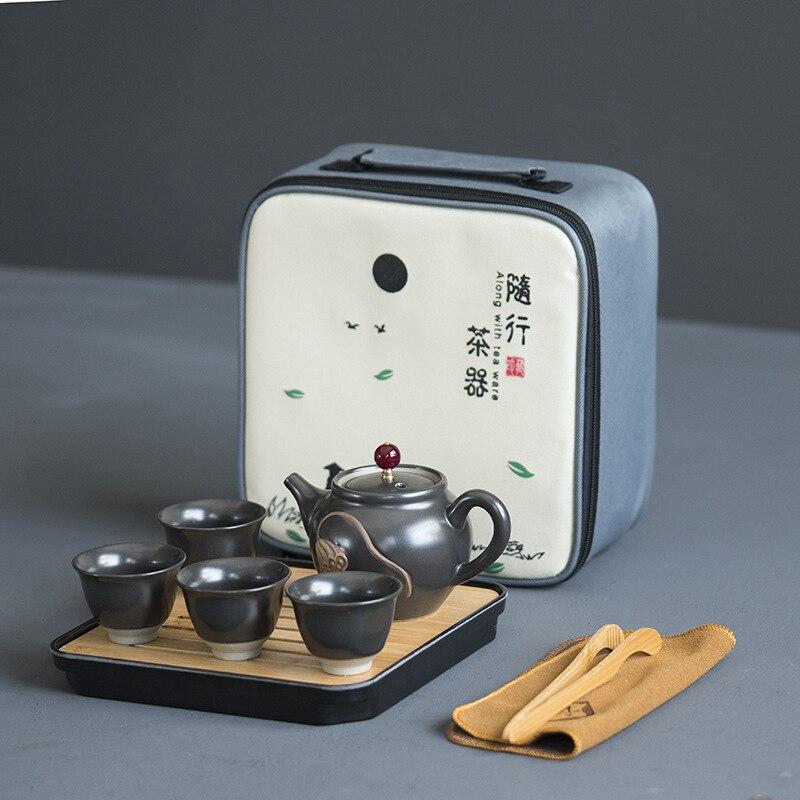 Chinese Kung Fu Teaware Sets Portable Travel Tea Set Ceramic Teapot Teacups Teaset Of Tea Ceremony Traveller Teaware With Bag