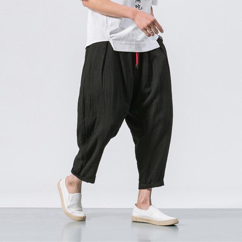 Black green brown large size fashion loose harem pants original brand men's elastic waist cotton linen casual pants bloomers
