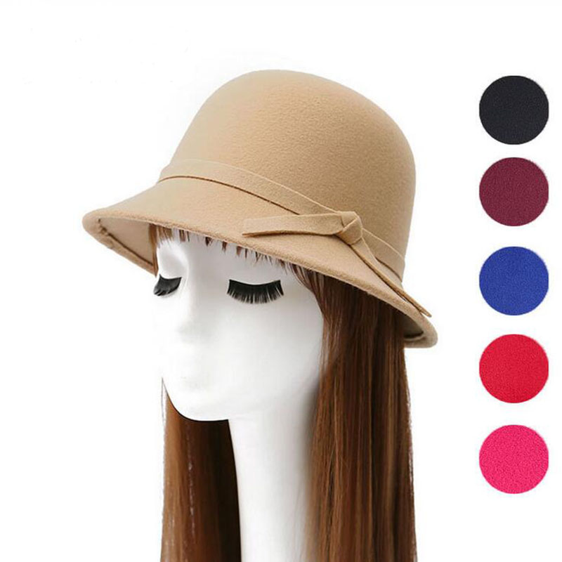 2017 new 6 colours women hat bowknot wool Fedoras cap Basin of dome woolen cloth hat female cloth Basin cap free shipping