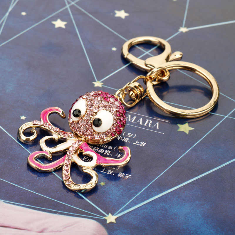 Dongsheng Thời Trang Dễ Thương Bạch Tuộc Keychain Pha Lê Dương Động Vật Ví Túi Xách dây đeo Chìa Khóa Xe Mặt Dây Chuyền Phụ Kiện Keyring-50