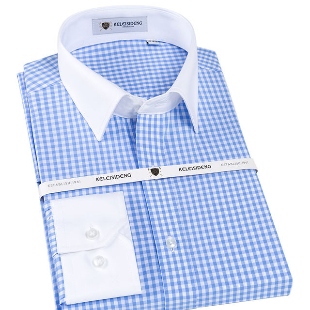 626d885461d6d Mens Long Sleeve Slim-fit Blue White Plaid Dress Shirt with Patchwork  Collar 100% Pure Cotton Male Formal Business Office Shirts