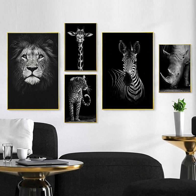 HTB1TqXSa.LrK1Rjy1zbq6AenFXaG Nordic Canvas Art Painting Black White Giraffe Elephant Zebra Lion Print Animal Wall Art Poster Living Room Home Decor Painting