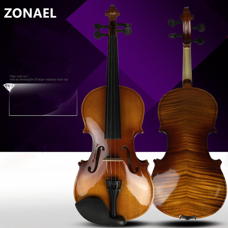 ZONAEL 4/4 3/4 1/2 1/4 1/8 beginner violin Antique Maple violin FULL Violino 3/4 Handmade musical instrument & case,bow 3 4 4 4 1 2 1 4 1 8 1 16