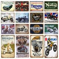 Triumph Norton мотоциклы металлические знаки на заказ двигатели Железный плакат Паб Бар Гараж винтажное украшение для стен