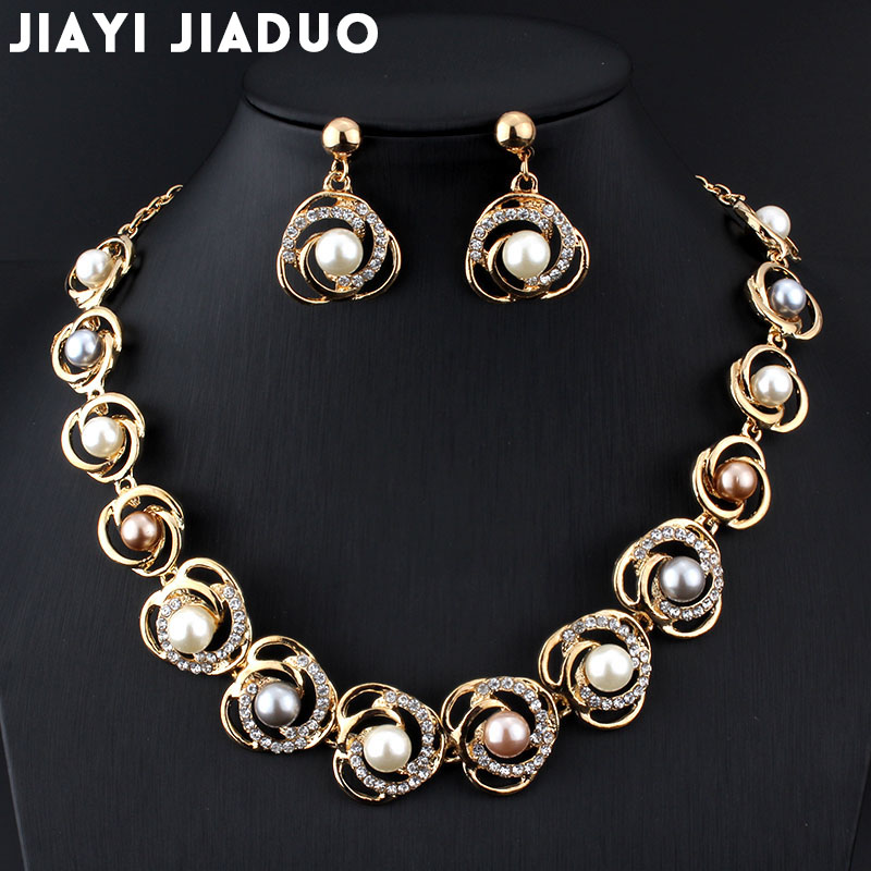 jiayijiaduo Bridal Jewelry Set Imitation Pearl gold-color Wedding for women Roses Tripe Beads Designed for Women Gifts