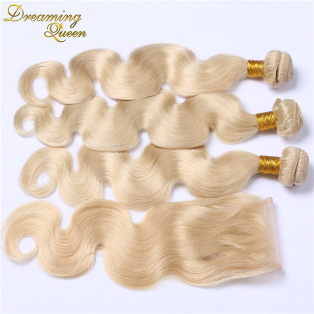 613 pure color body wave brazilian hair with 4x4 lace closure 7A brazilian human hair 4 pcs/lot blonde 3 bundles and closure