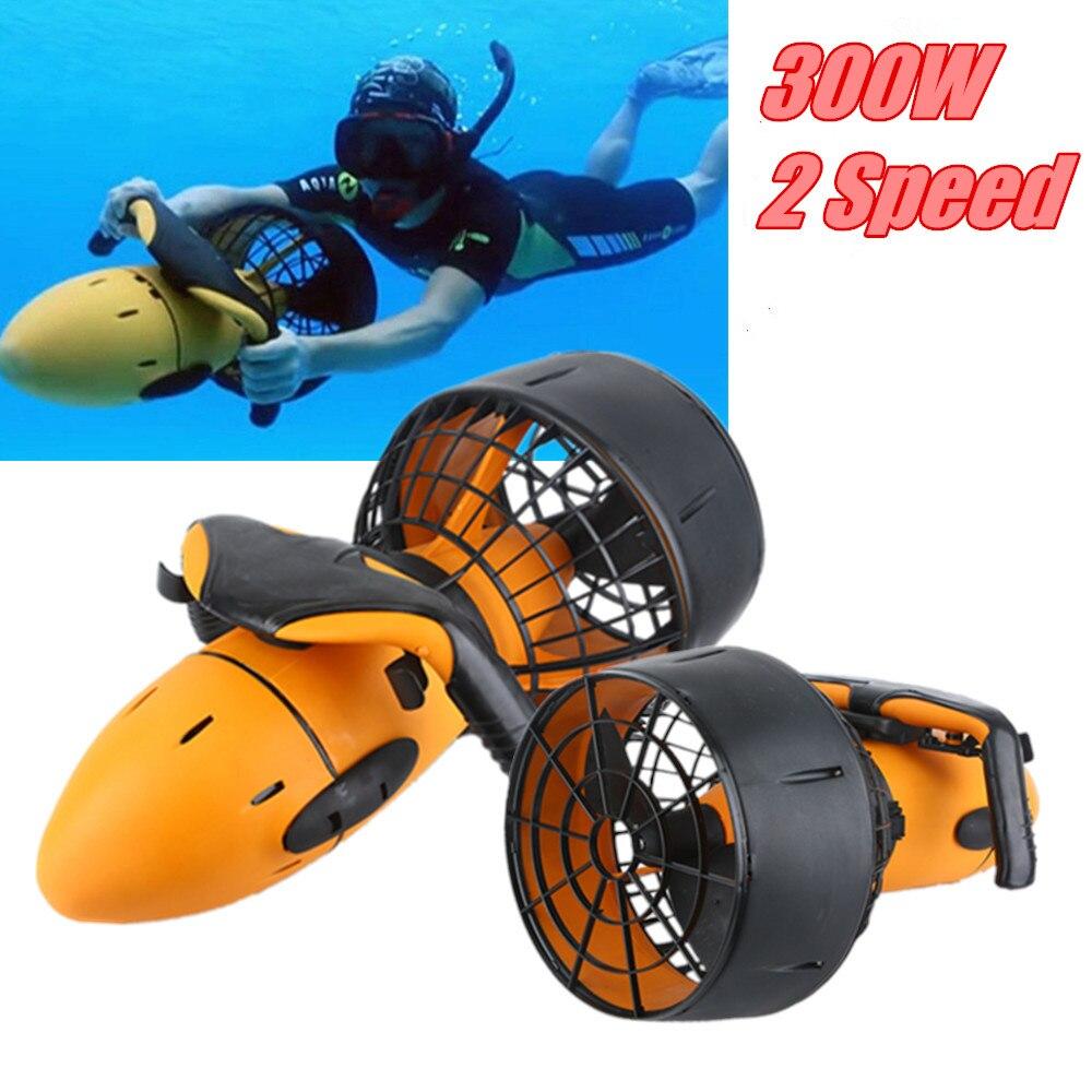 Imperméable à l'eau 300 W électrique sous-marin Scooter eau mer double vitesse hélice plongée piscine Scooter Sports nautiques équipement US/EU
