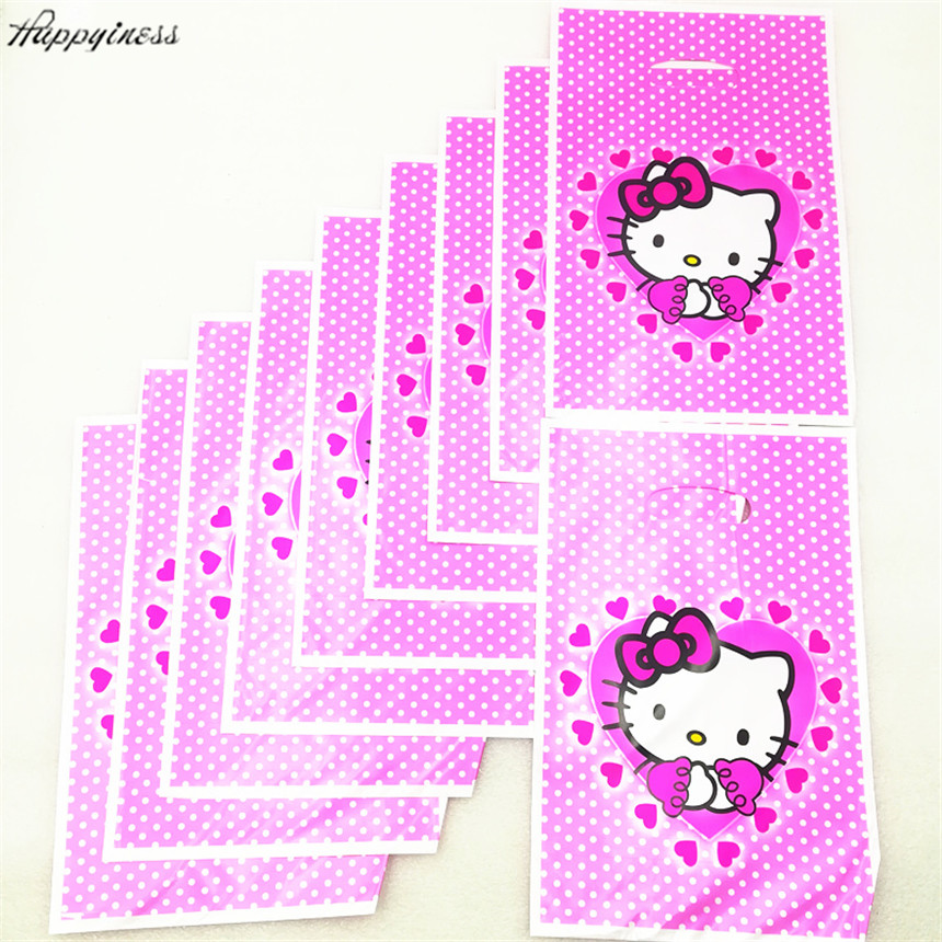 10pcs Hello Kitty Theme Gifts Bags Happy Birthday Party Decoration Loot  Candy Shopping Bag Baby Shower Party Supplies-in Gift Bags   Wrapping  Supplies from ... 06c7bf9e8fadc