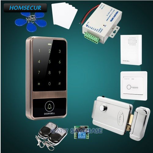 HOMSECUR Waterproof Metal Case Access Control IC Reader System+Electric Control Lock