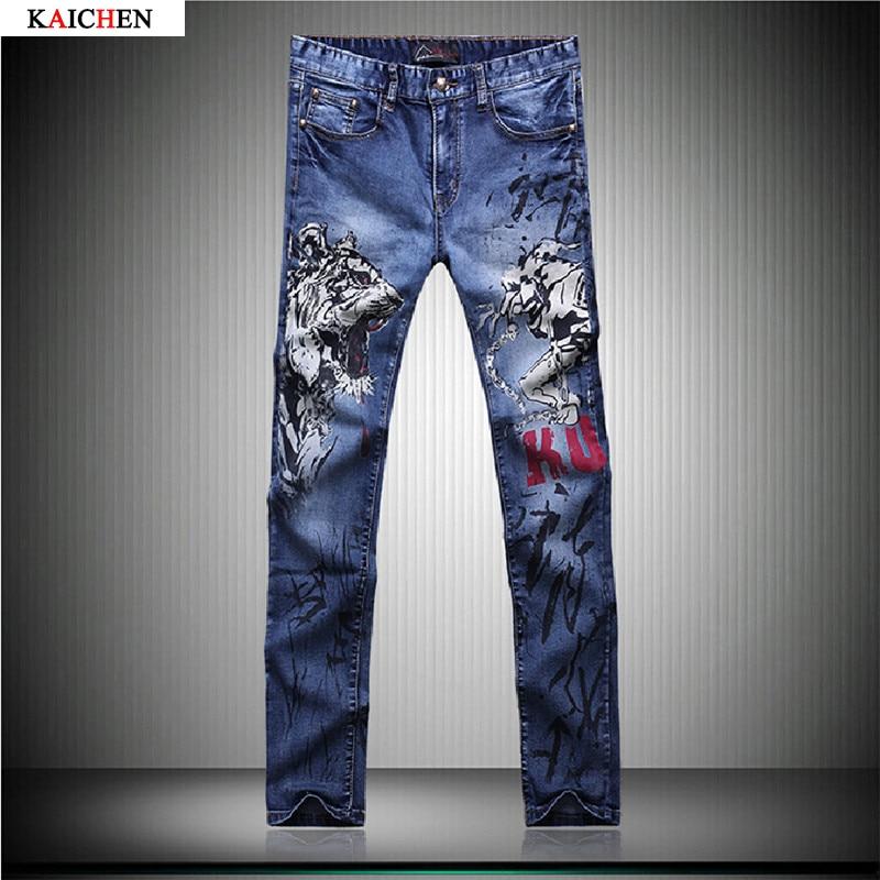 ФОТО Tiger Print Jeans Pants 2016 Blue Fashion Jeans Men Print Straight Slim Designer Painted Stretch Jeans For Men Slacks Jean