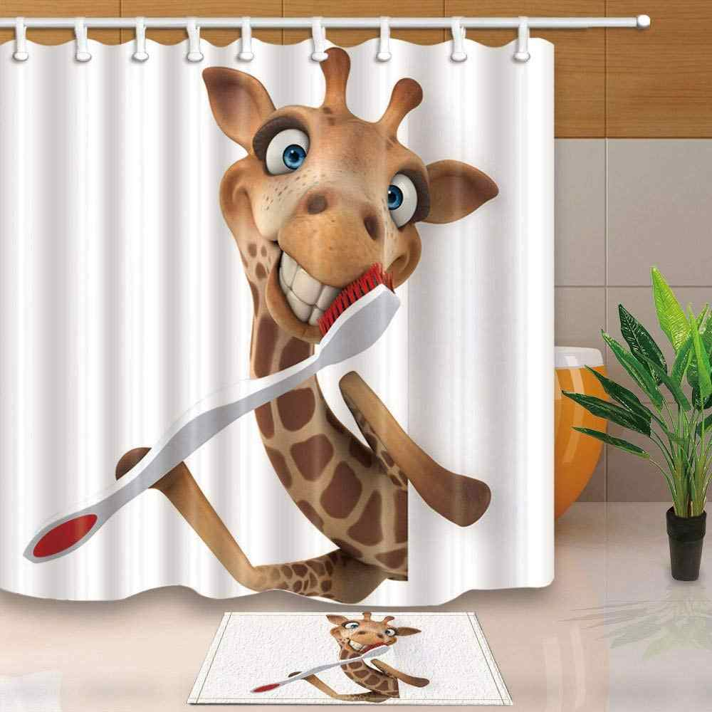 Good Morning giraffe with Toothbrush Shower Curtain and Mat Set, Home Decoration Cuddly Waterproof Fabric Bathroom Curtain