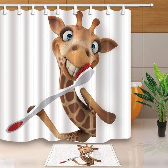 Buongiorno giraffa con Spazzolino Da Denti Tenda Della Doccia e Zerbino Set, Dec