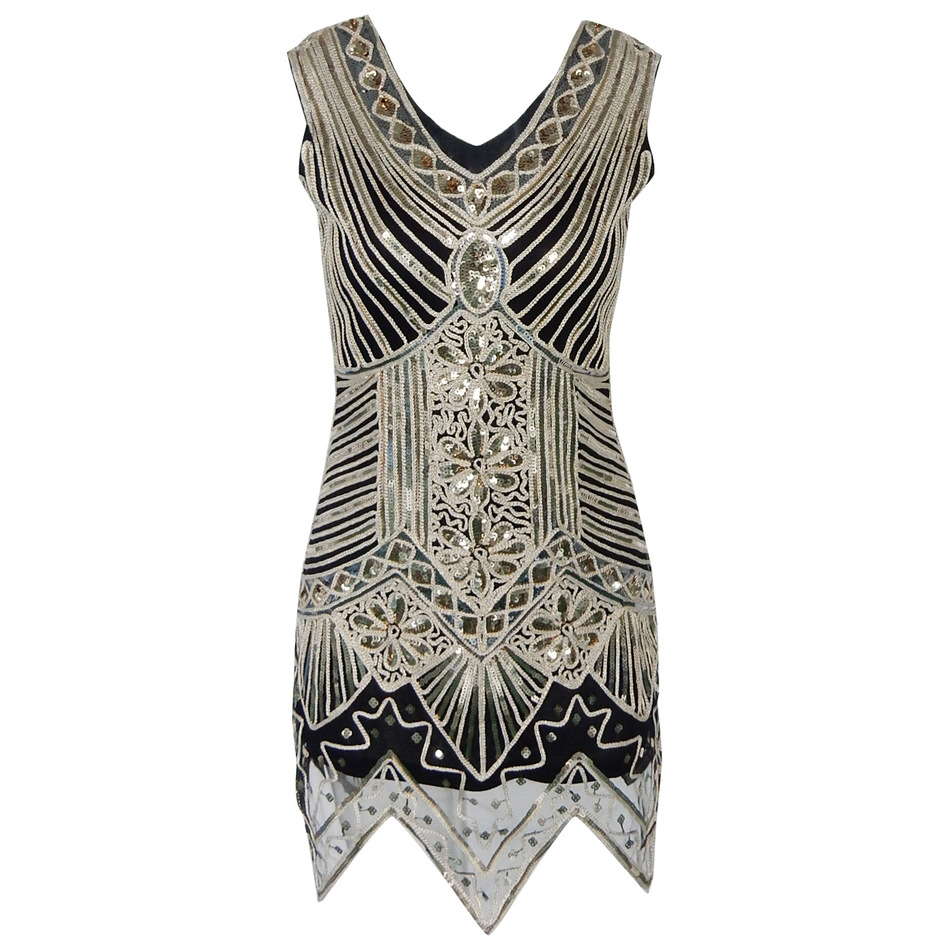 rétro bling dress glitter femme v cou roaring 1920 s grand gatsby