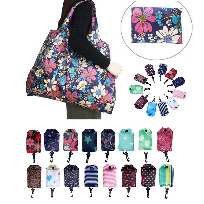 LASPERAL Pouch Cloth Grocery Folding Washable Attached Bags Tote Polyester Into 42x55cm