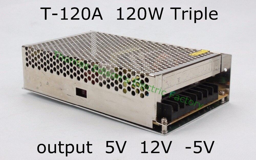 Triple output power supply 120w 5V 11A, 12V 5A, -5V 1A power suply T-120A  ac dc converter good quality t 120a triple output power supply 120w 5v 15v 15v power suply ac dc converter power supply switching