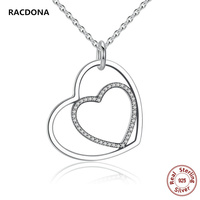 2017 Hot Genuine 925 Sterling Silver Heart To Hang Pendant Necklace Austrian Crystal Necklace For Women