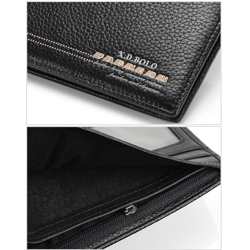 Stitch Men Fashion Casual Wallet First Layer Genuine Leather Card Holder Short Men Clutch Bags Man Photo Bit 2018 Drop Shipping