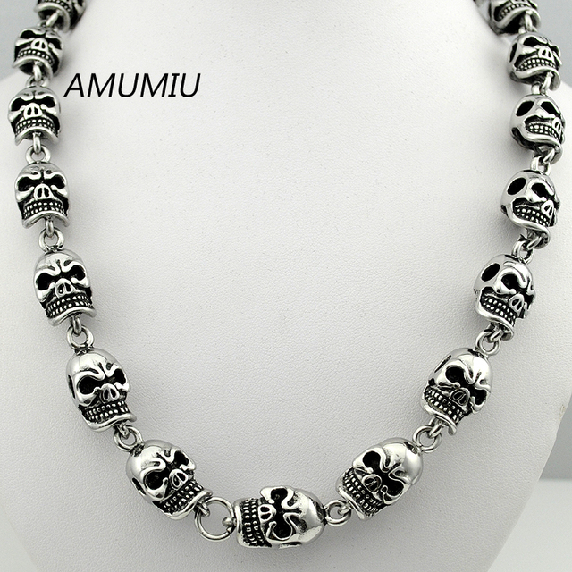 AMUMIU angry head skull chain 50cm 12mm skeleton necklace short for men rock jewelry new stainless steel HZP112