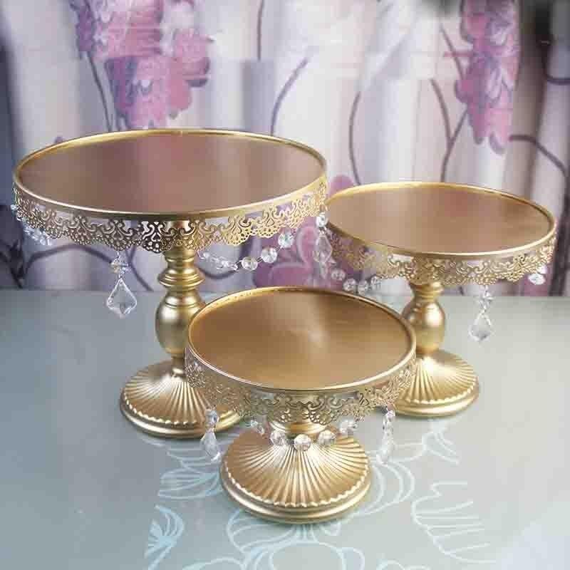 3 pièces Or support de gâteau en métal en cristal de fer décoration de fête de mariage fournisseur de cuisson gâteau outils accessoires