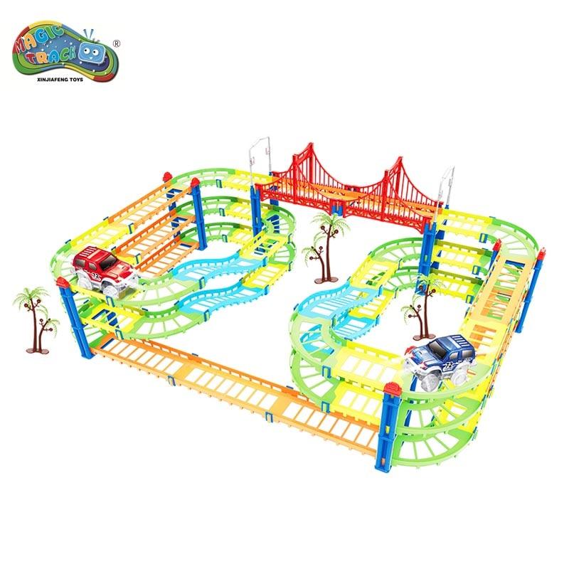 Magic track 169PCS Railway Mini Car Road slot stunt railroad luminous glowing race childrens cars racing track toys for boys