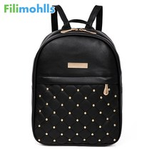 2018 Backpacks Shoulder Bags Casual Travel Bead Backpack for Teenage Girls PU Leather SchoolBag Backpack Mochila feminina S1320