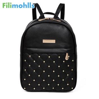 2019 Backpacks Shoulder Bags Casual Travel Bead Backpack for Teenage Girls PU Leather SchoolBag Backpack Mochila