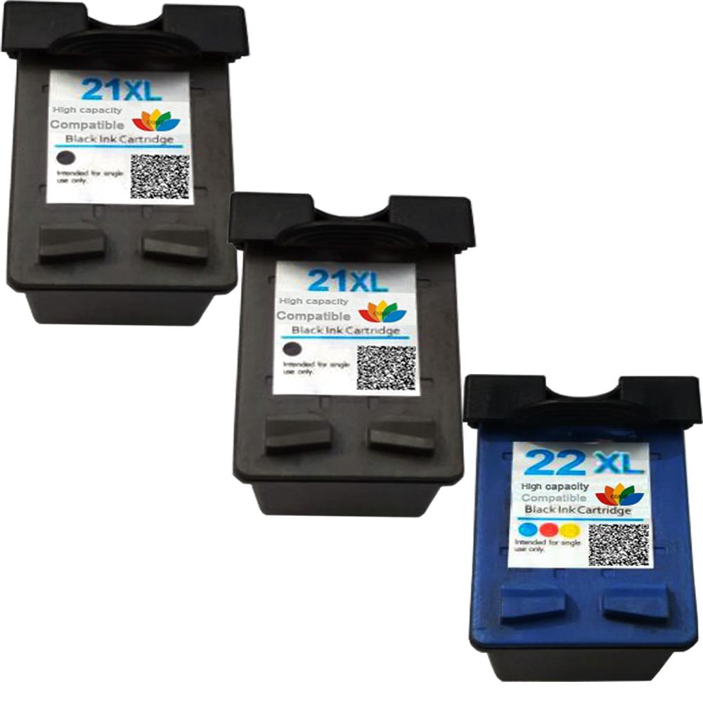 3x Compatvel Cartucho De Tinta Para Impressora Hp Deskjet Hp21 22 21 F380 F2280 3910 3915 3918 3920 3930 3938 3940 D1530 D1311 D1320