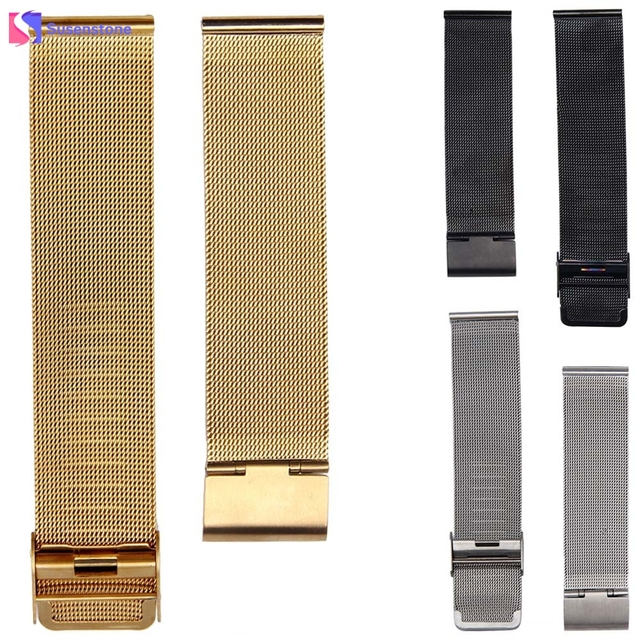 Black Gold Silver Stainless Steel Watch Band Strap Straight End Bracelet Buckle