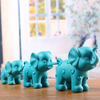 3PCS/set Resin Crafts Three small elephant Sculpture Home Decorations Accessories Gifts Living room office desktop decorations