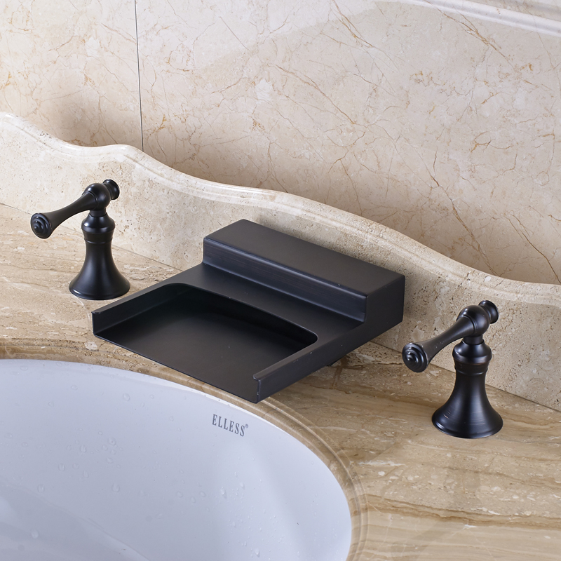 Oil Rubbed Bronze Solid Brass Double Hanldes Bathroom Sink Faucet Widespread 3pcs Mixer Tap