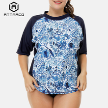 Attraco Rashguard Women Short Sleeve Retro Floral Print Swimsuit Shirt Womens Plus Size Swimwear UPF50+ Rash Guard Beach Wear plus size short sleeve floral pattern swimwear for women