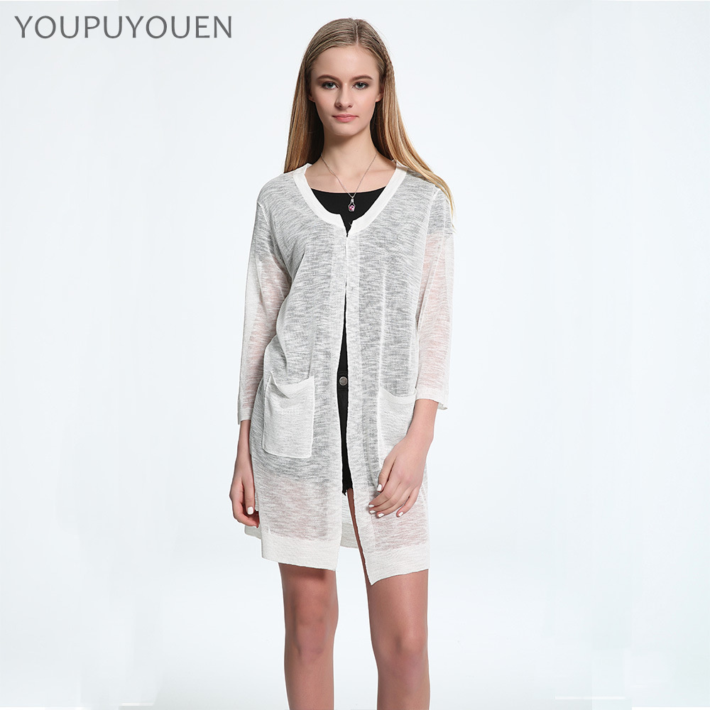 YOUPUYOUEN Summer Long Cardigans Bamboo Linen Knitted Jacket Women ...