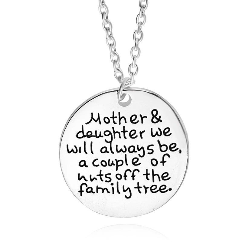 Mother daughter jewelry letter round pendant necklace for Jewelry for mom for christmas