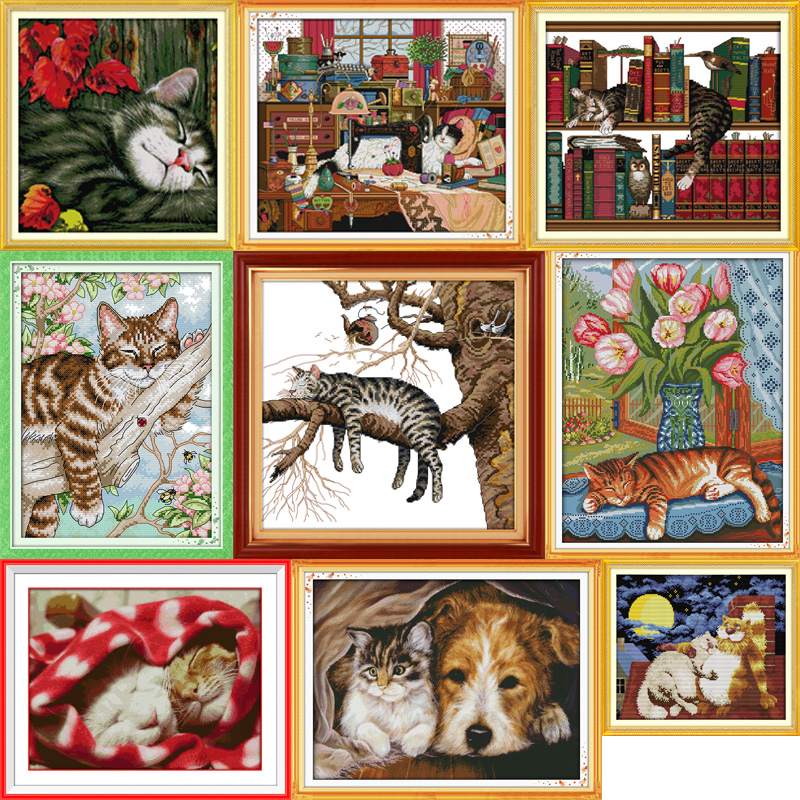 Joy sunday All kinds of cute mischievous cats cross stitch pattern kits handcraft make embroidery with chart image