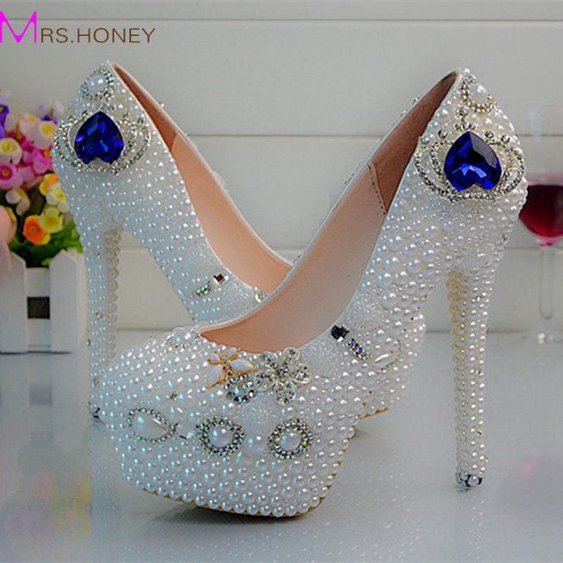 ФОТО White Pearl Blue Crystal High Heel SHoes Women New Designer Handmade Wedding Shoes Crown Rhinestone Lady Happy Prom Shoes