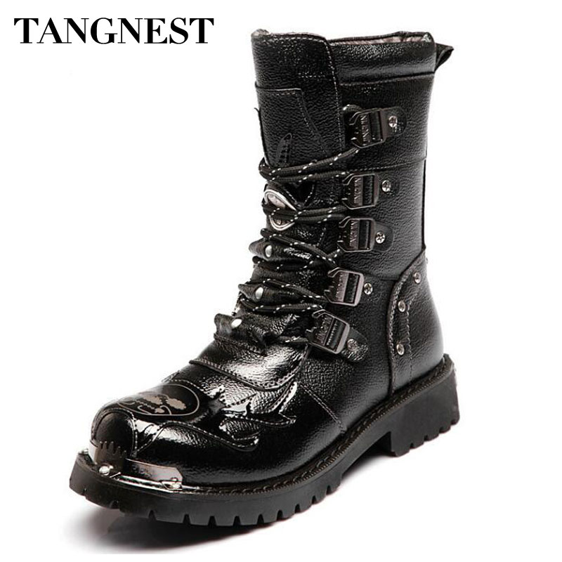Tangnest hommes bottes en cuir véritable homme militaire moto bottes mi-mollet botte mâle hiver chaud chaussures avec fourrure taille 46 XMX934
