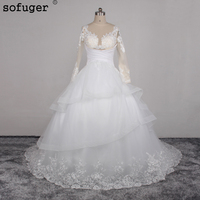 Free Shipping A Line Illusion Neckline Sexy Backless Lace Wedding Dress Pure White Fashion Court Train