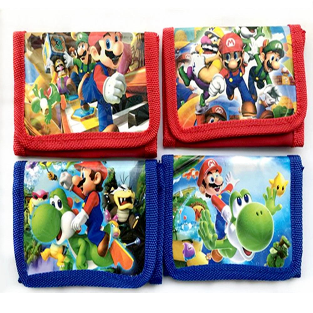 1 pcs Carteira Saco Dos Desenhos Animados Super Mario Figuras de Ação Mario Irmão Nylon Com Zíper Design Kid Toy Presente