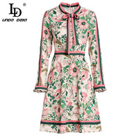 LD LINDA DELLA 2019 Spring Fashion Runway Long Sleeve Dress Women's Belted Collar Multicolor Floral Print Vintage Elegant Dress
