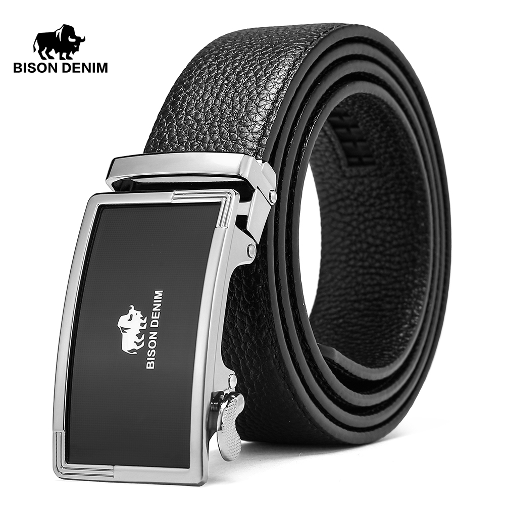 BISON DENIM Brand Belts For Men Genuine Leather Cowskin Belt Male Casual Automatic Jeans Belt Strap Gift For Man N71347