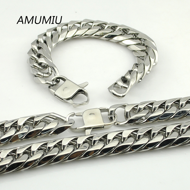 AMUMIU 17MM BIG Long Silver Color Top Quality Necklace Bracelet Sets Stainless Steel Chains Man's Jewellry Wholesale HZTZ079