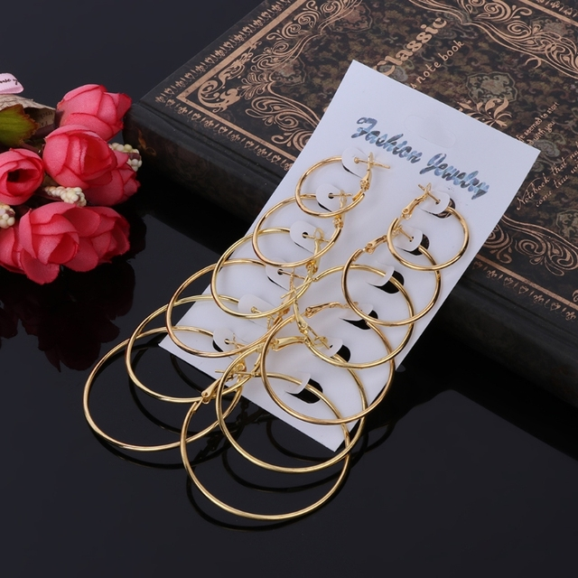 6Pairs/set Gold Silver Circle Earrings 3